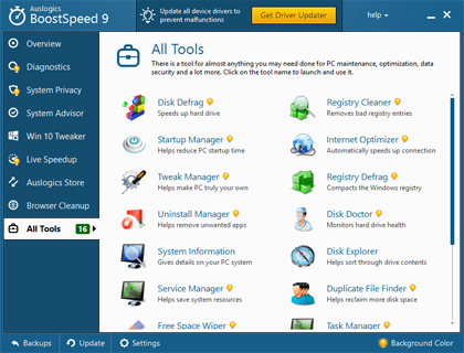 Auslogics BoostSpeed, Software Utilities Screenshot