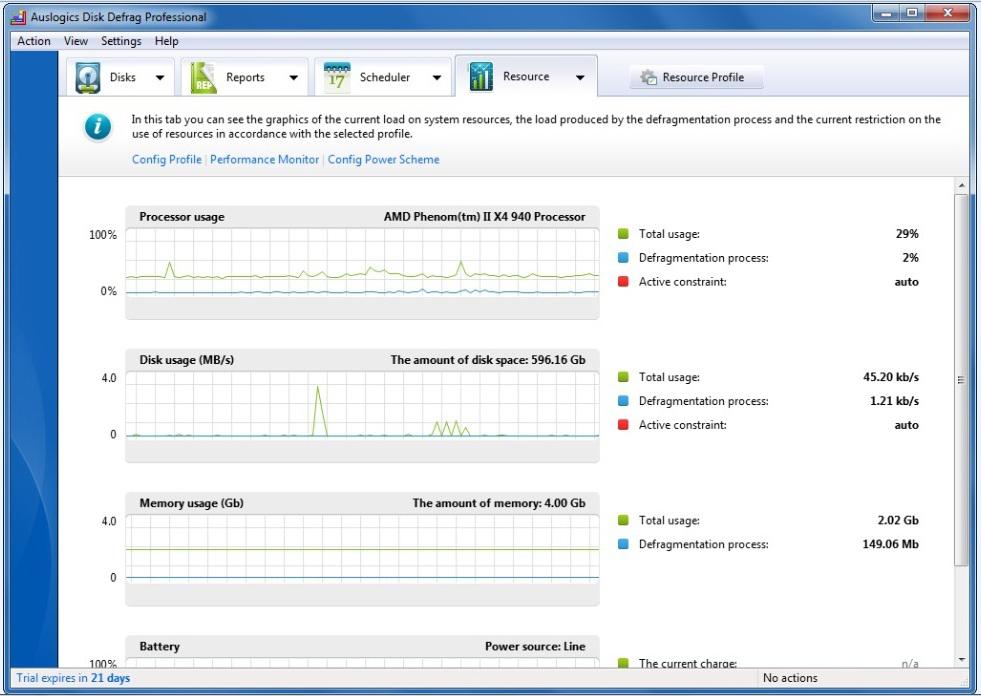 PC Optimization Software, Auslogics Disk Defrag Pro Screenshot