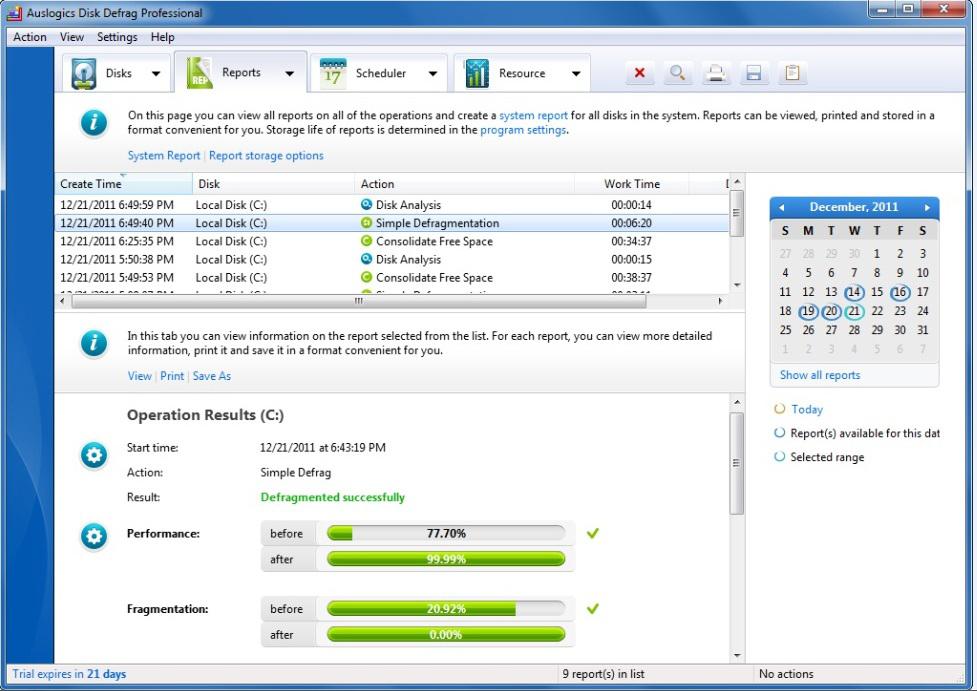Auslogics Disk Defrag Pro, Software Utilities Screenshot