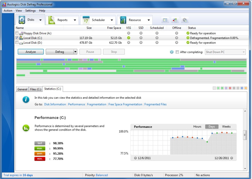 Auslogics Disk Defrag Pro, PC Optimization Software Screenshot