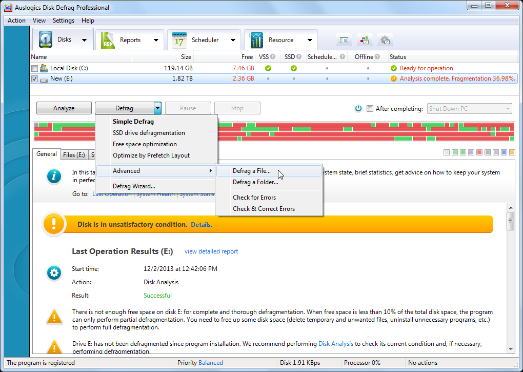 Auslogics DiskDefrag Pro, Hard Drive Software Screenshot