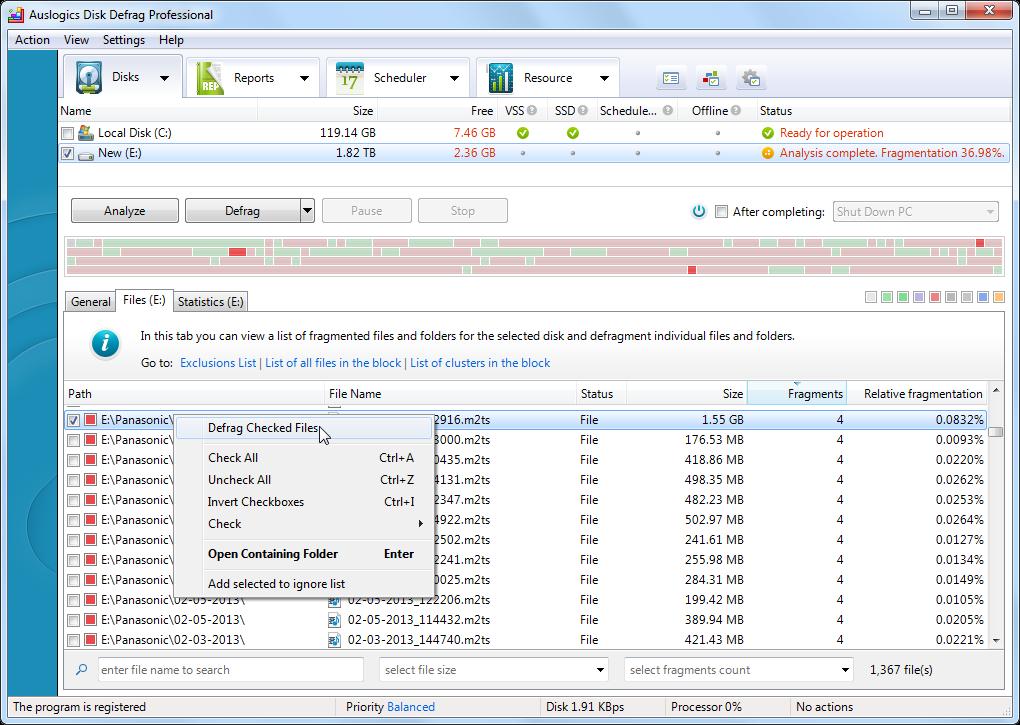 Auslogics DiskDefrag Pro Screenshot