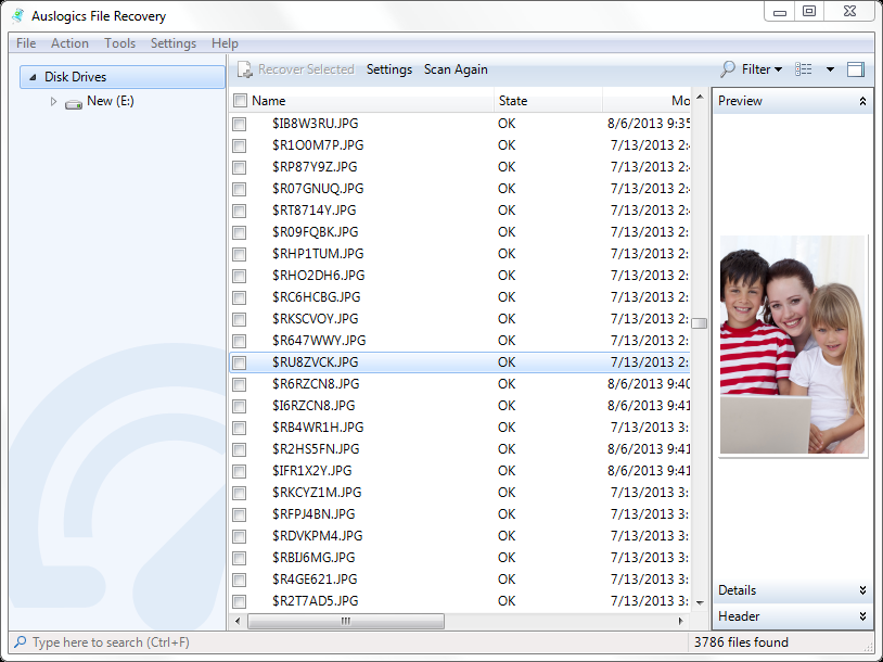 Files and Folders Software, Auslogics FileRecovery Screenshot