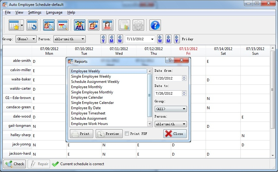 Business Management Software, Auto Employee Schedule Screenshot