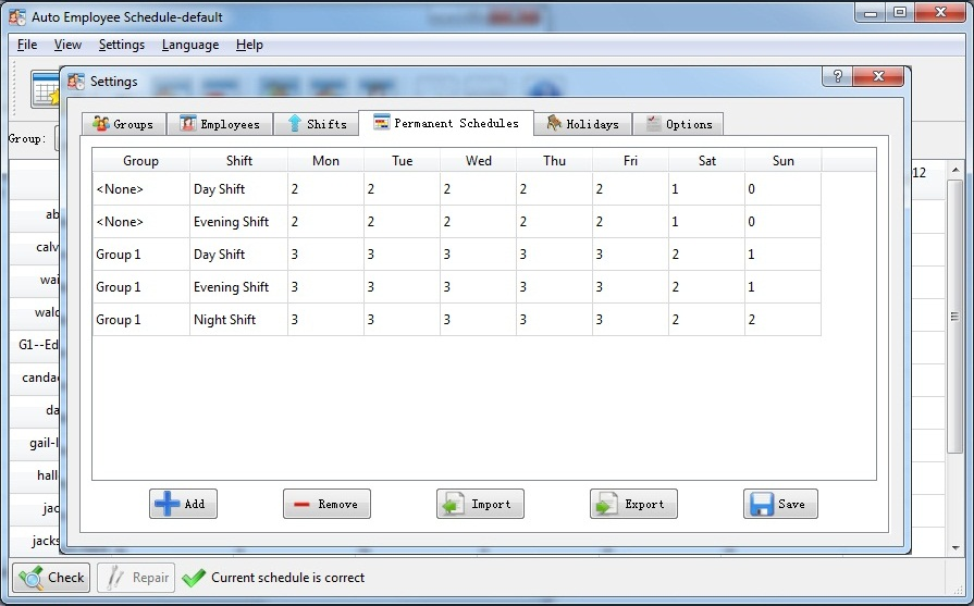 Auto Employee Schedule, Business Management Software Screenshot