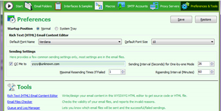 Auto Mail Sender File Edition, Internet Software Screenshot