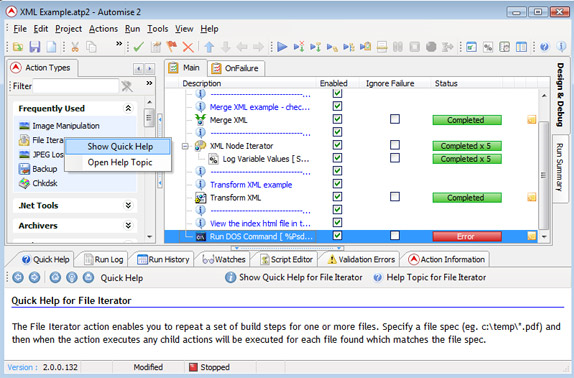 Macros Software, Automise Lite Screenshot