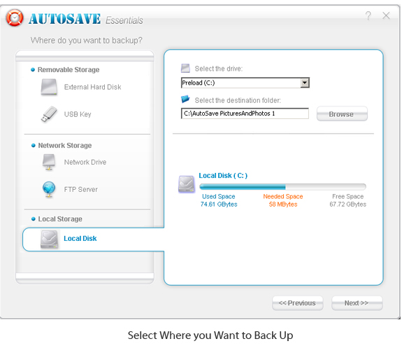 AutoSave Essentials, Backup and Restore Software Screenshot