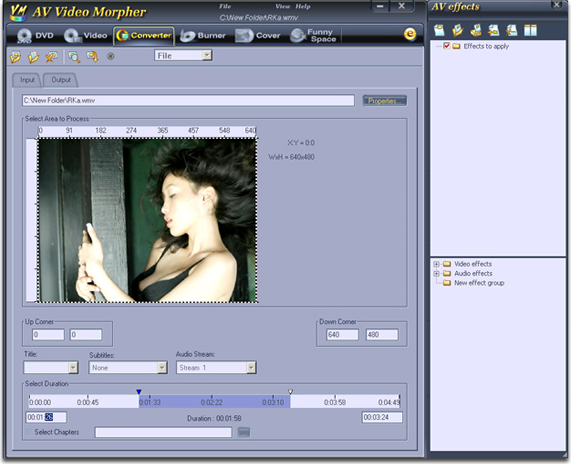 AV Video Morpher, Video Editing Software Screenshot