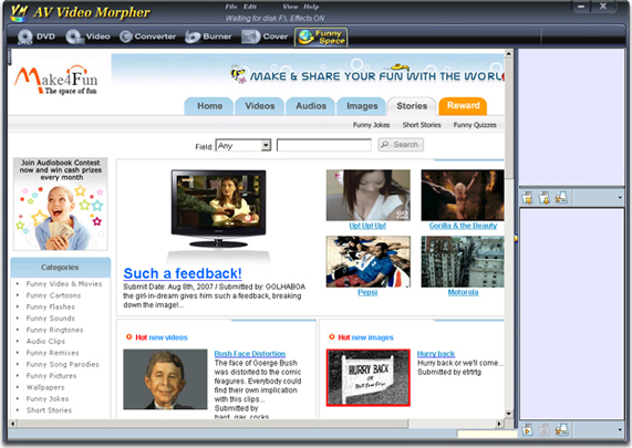 Video Editing Software, AV Video Morpher Screenshot