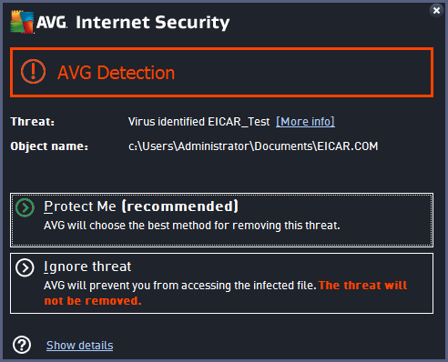 AVG Security Screenshot