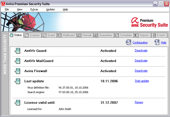 Avira AntiVir Premium Screenshot