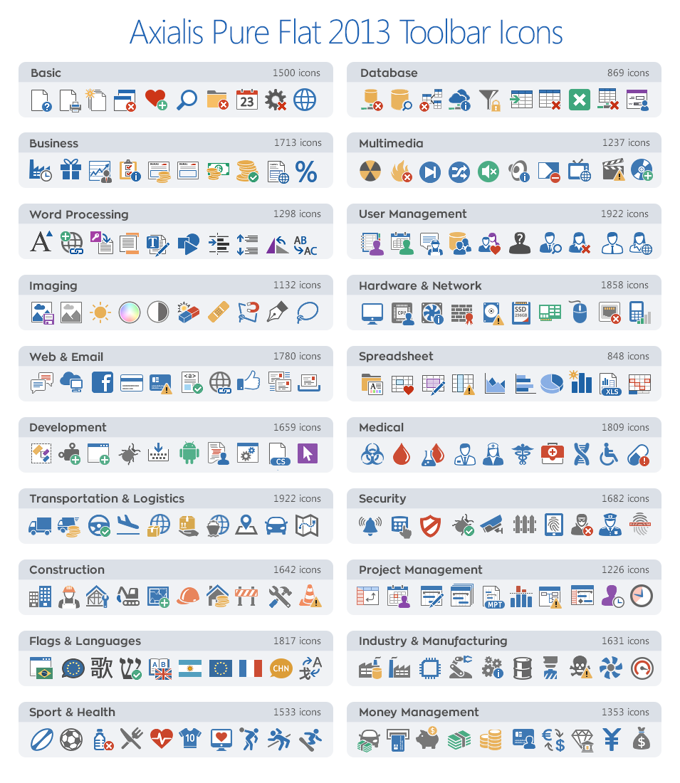 Axialis Pure Flat 2013 Stock Icons - 20 Icon Sets, Design, Photo & Graphics Software Screenshot