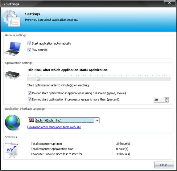 Background Optimizer, PC Optimization Software Screenshot
