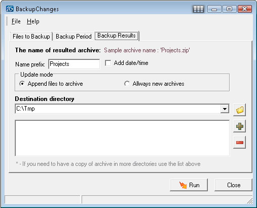 BackupChanges, Backup and Restore Software Screenshot