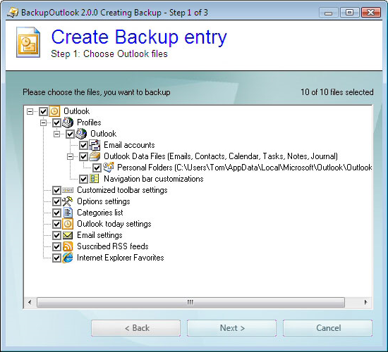 BackupOutlook, Backup Email Software Screenshot