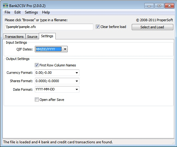 Bank2CSV, Finance Software Screenshot