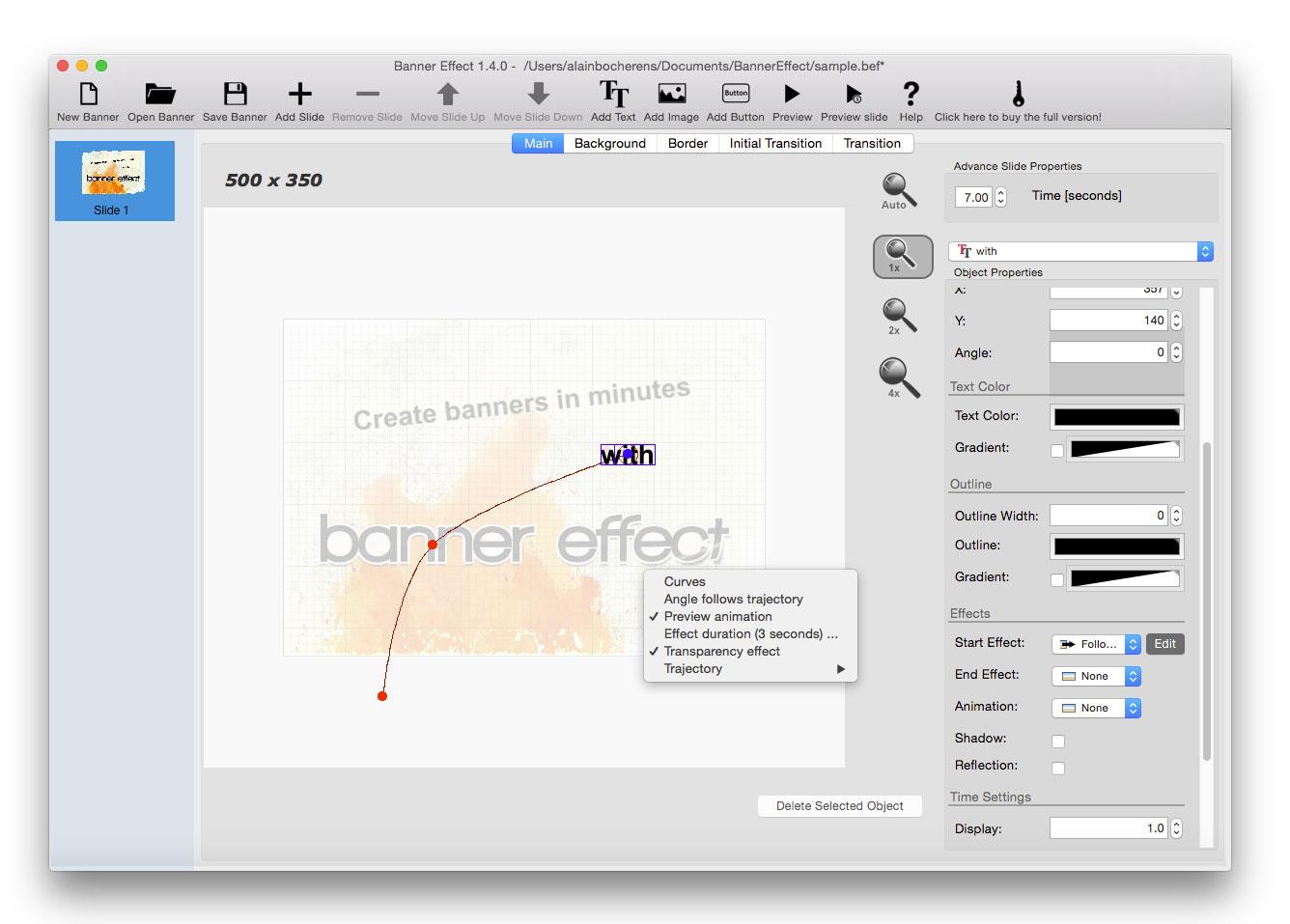 Banner Effect Professional Edition, Development Software Screenshot