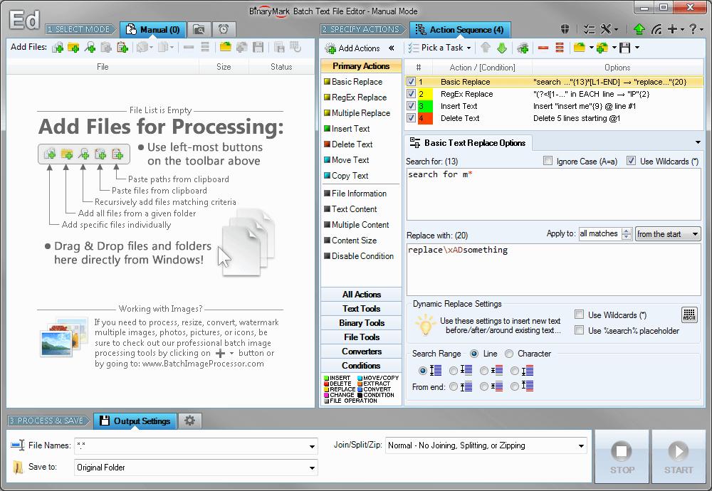 Batch Text File Editor, Code Editor Software Screenshot