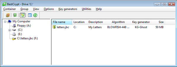 Encryption Software, BestCrypt Container Encryption for Windows Screenshot