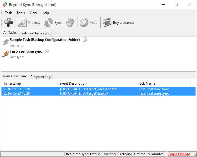 File Sync Software Screenshot