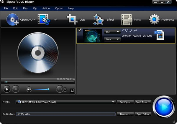 Bigasoft DVD Ripper, DVD Ripper Software Screenshot