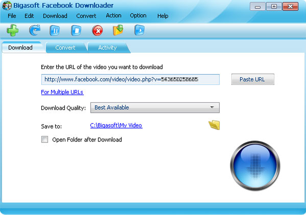 Bigasoft Facebook Downloader Screenshot