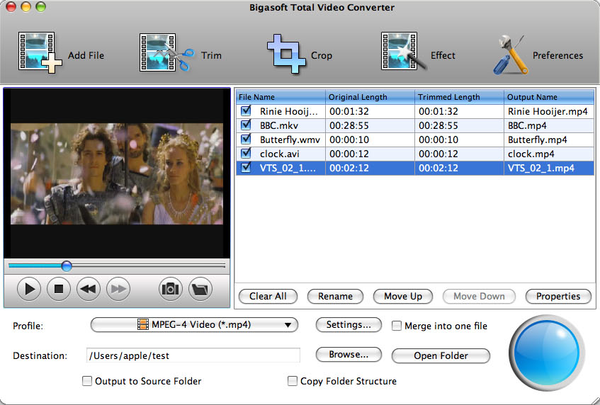 Bigasoft Total Video Converter for Mac Screenshot