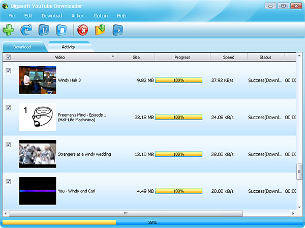 Bigasoft YouTube Downloader, YouTube Downloader Software Screenshot