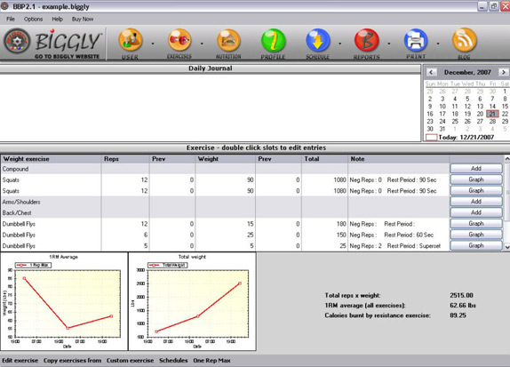 Biggly Diet & Exercise, Health Software Screenshot