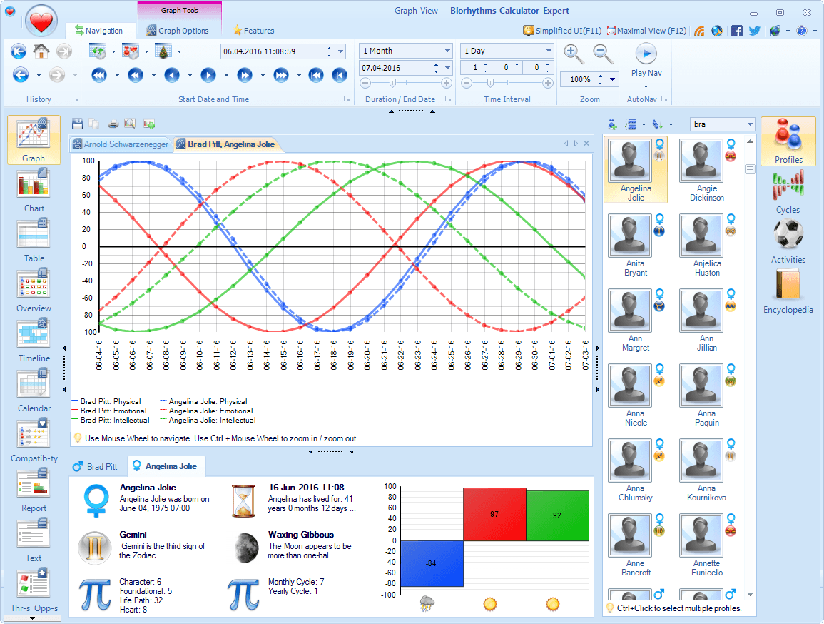 Biorhythms Calculator, Hobby, Educational & Fun Software, Lifestyle Software Screenshot