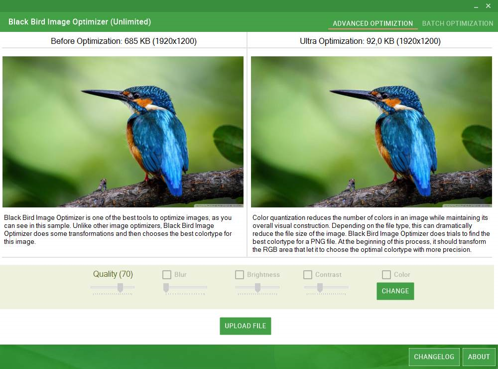 Black Bird Image Optimizer Screenshot