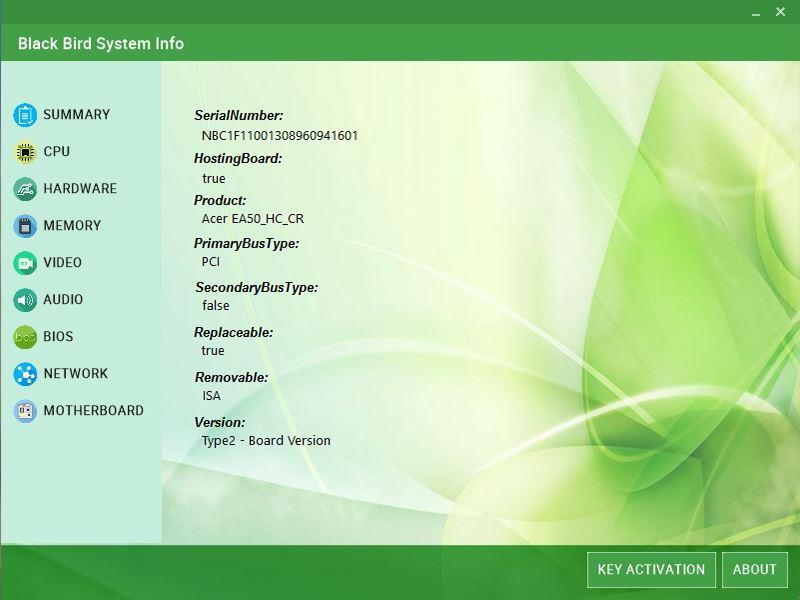 Black Bird System Info, Other Utilities Software Screenshot