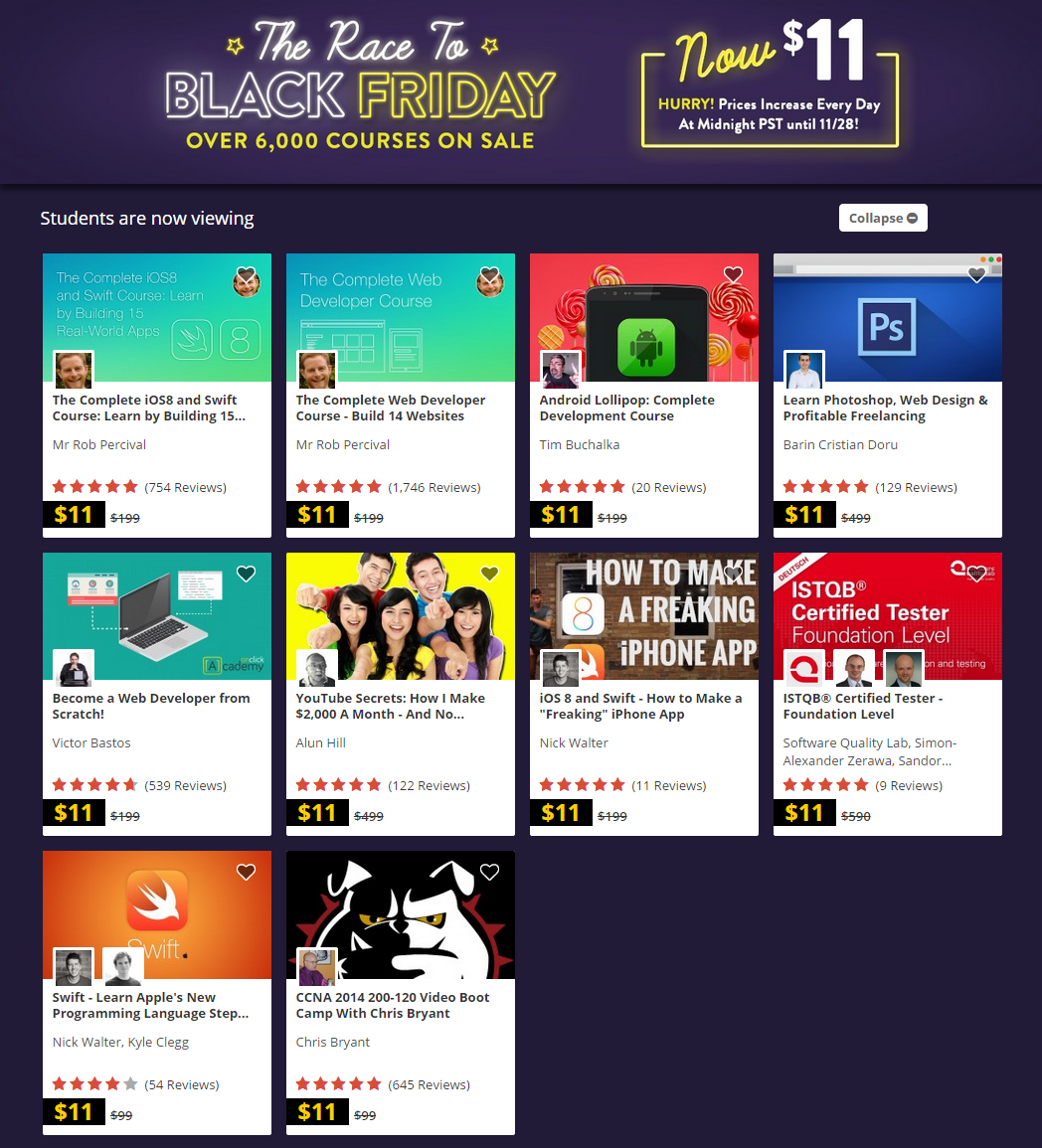 Black Friday – Udemy Courses Screenshot