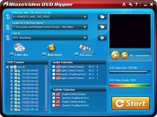 BlazeVideo DVD Ripper Screenshot