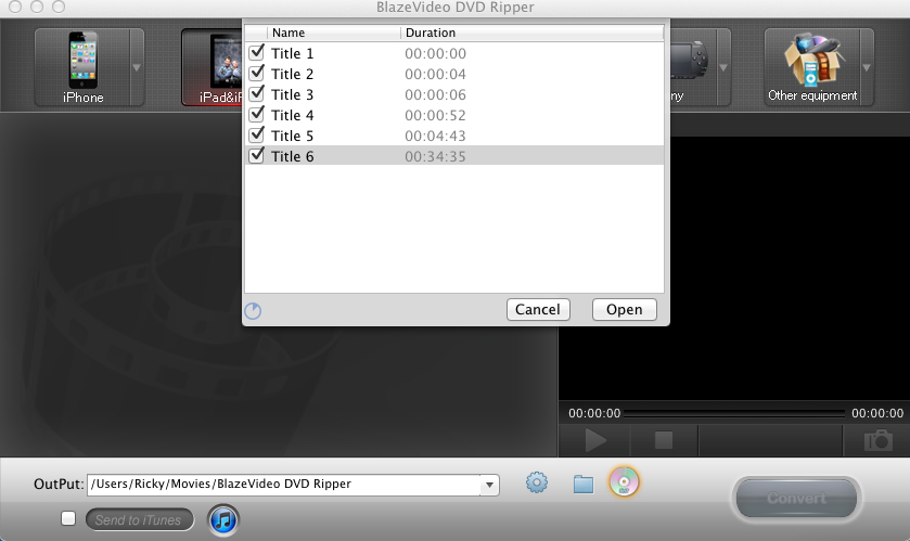 BlazeVideo DVD Ripper for Mac Screenshot