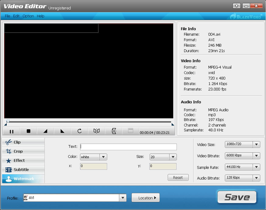 BlazeVideo Video Editor, Video Editing Software Screenshot