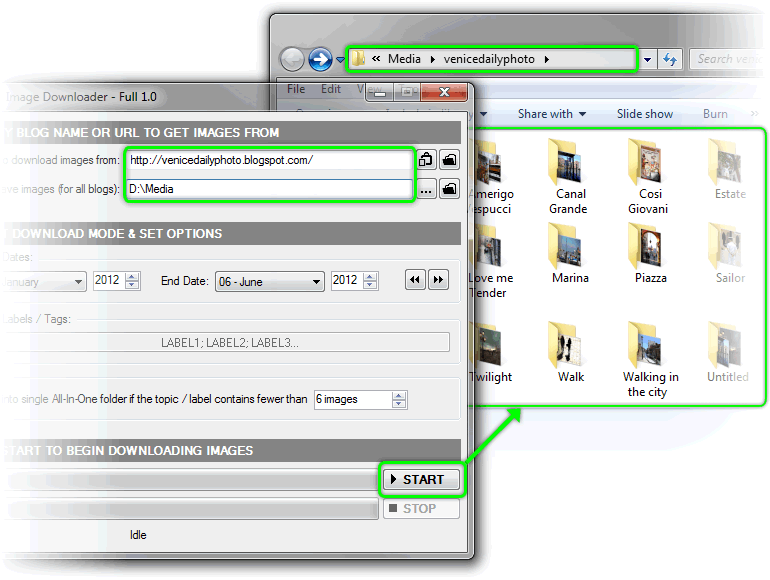 Blogspot & Tumblr Image Downloader, Internet Download Manager Software Screenshot