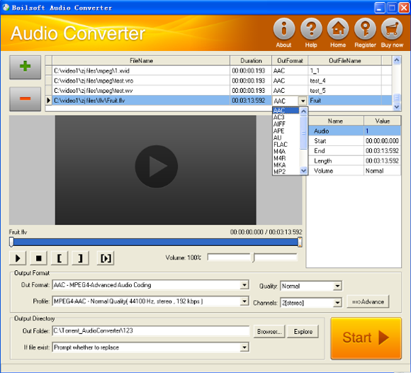 Boilsoft Audio Converter, Audio Software Screenshot