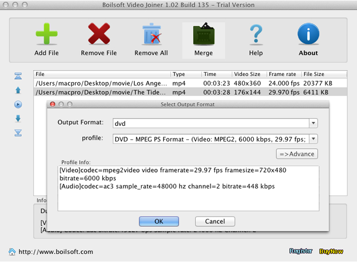 Video Editing Software, Boilsoft Video Joiner Screenshot