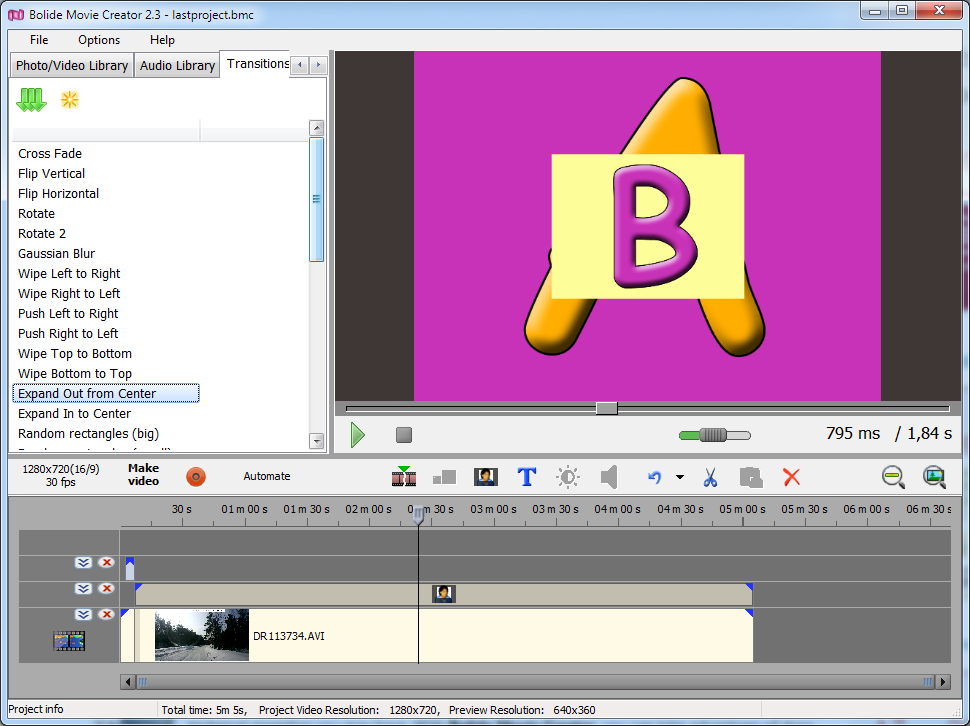 Bolide Movie Creator, Video Editing Software Screenshot