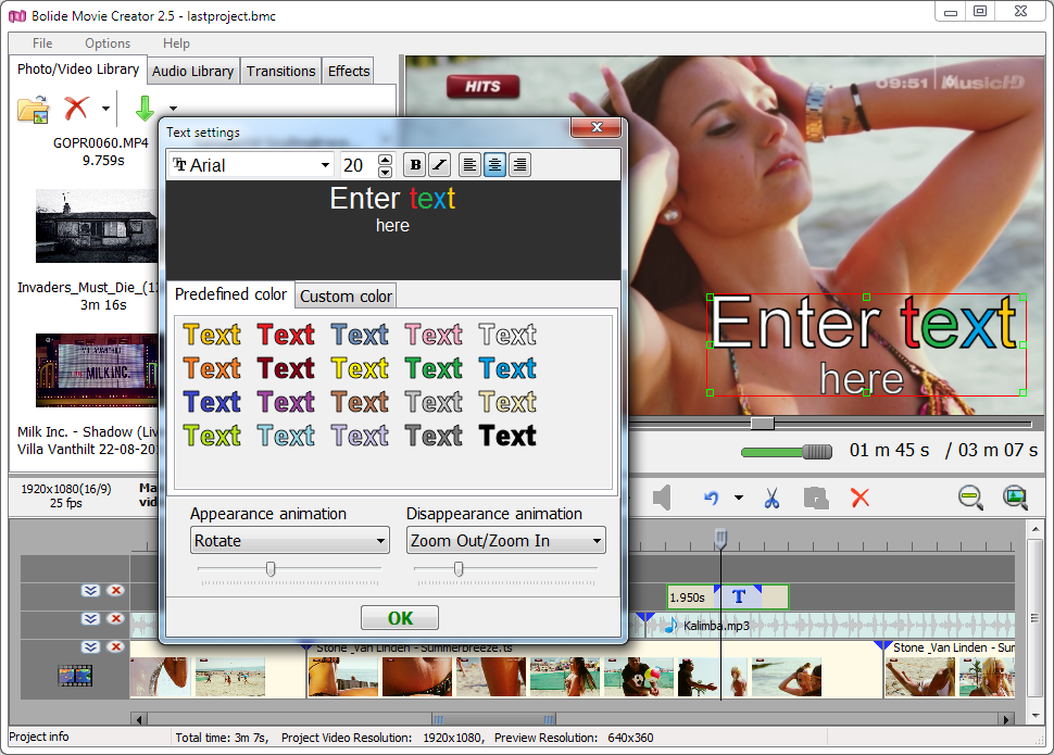 Video Editing Software, Bolide Movie Creator Screenshot