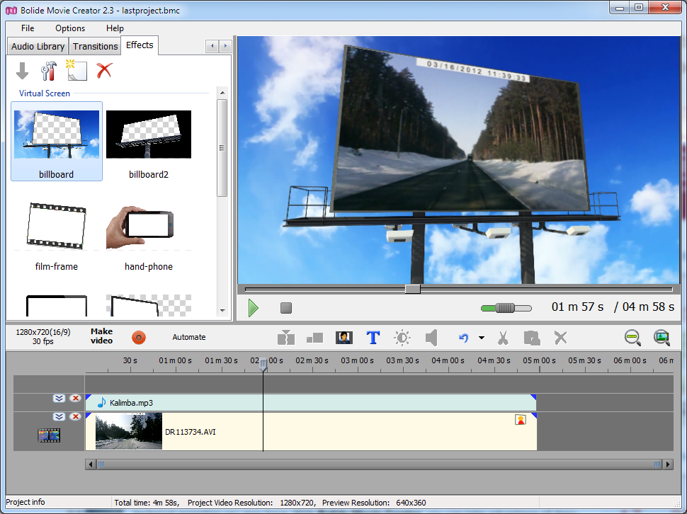 Bolide Movie Creator, Video Software Screenshot