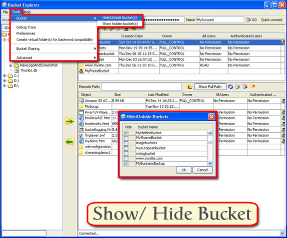 Bucket Explorer, Security Software Screenshot