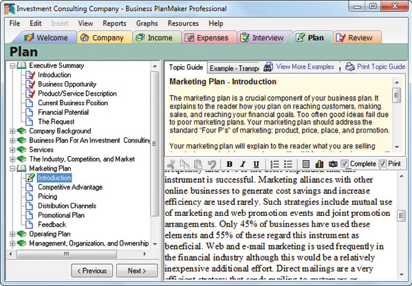 Business PlanMaker Professional 12, Business & Finance Software Screenshot