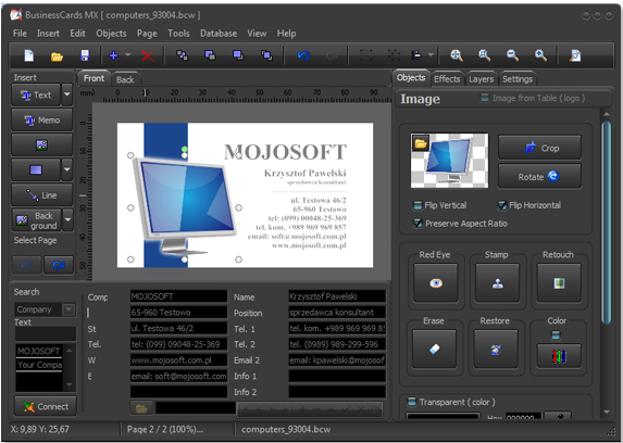 BusinessCards MX, Productivity Software Screenshot