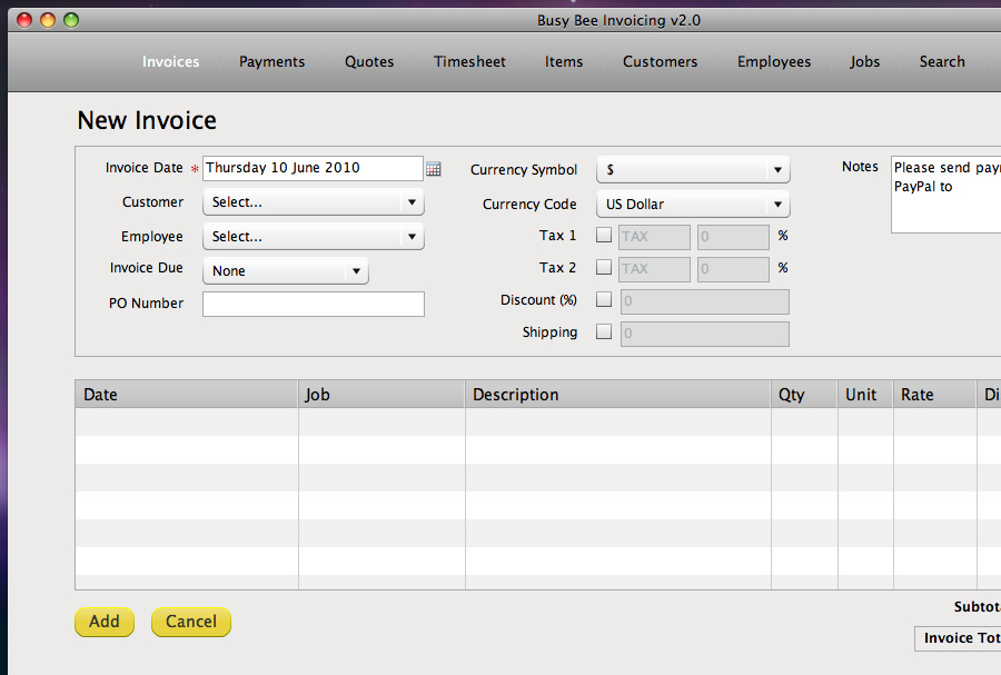 Busy Bee Invoicing Screenshot