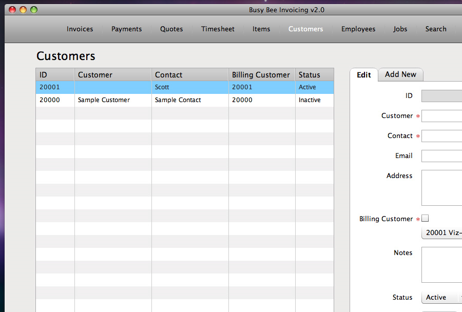 Business & Finance Software, Busy Bee Invoicing Screenshot