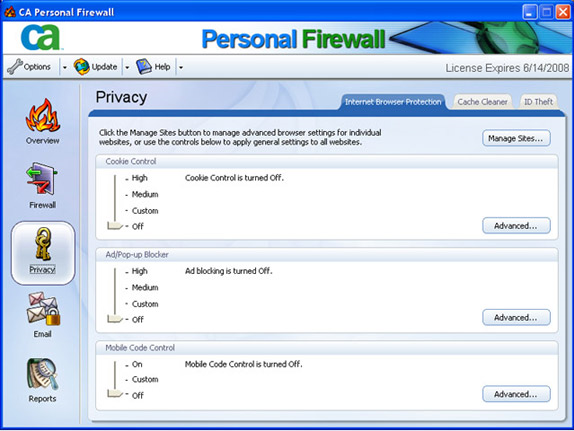 CA Personal Firewall 2007, Antivirus Software Screenshot