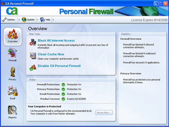 CA Personal Firewall 2007 Screenshot